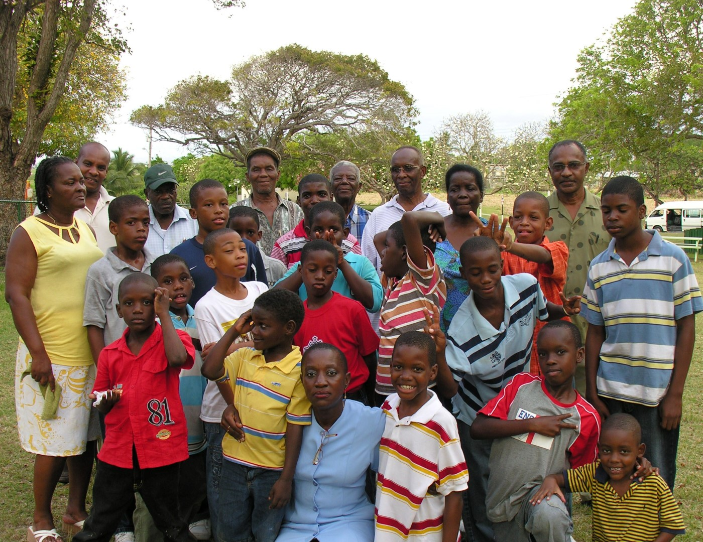 Men's Fellowship at picnic with children